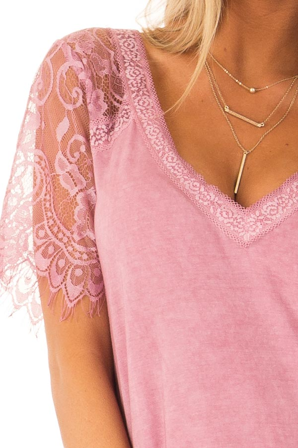Dark Blush V Neck Top with Sheer Lace Sleeves and Fringe detail