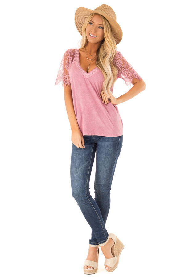 Dark Blush V Neck Top with Sheer Lace Sleeves and Fringe front full body