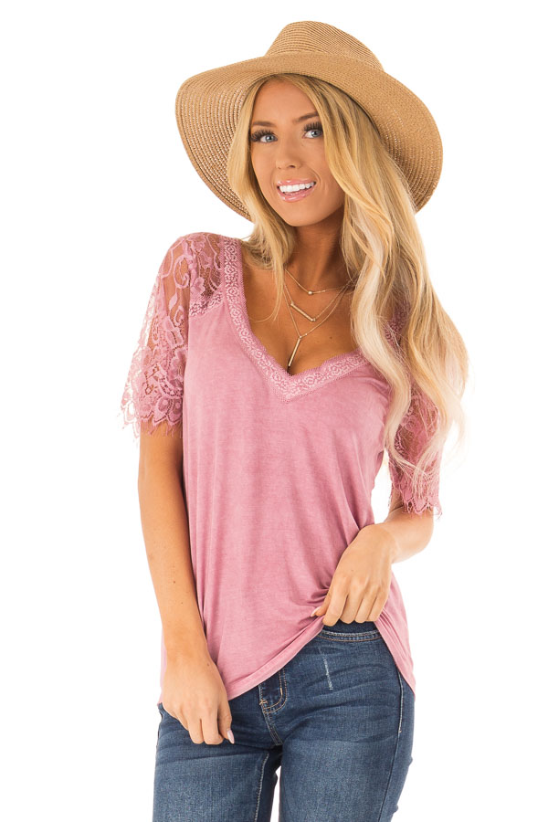 Dark Blush V Neck Top with Sheer Lace Sleeves and Fringe front close up