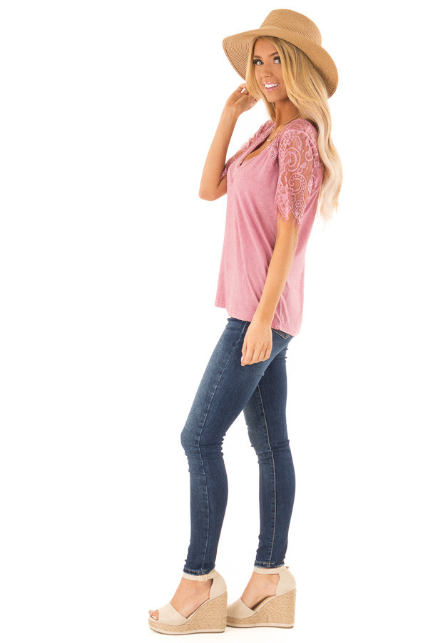 Dark Blush V Neck Top with Sheer Lace Sleeves and Fringe side full body