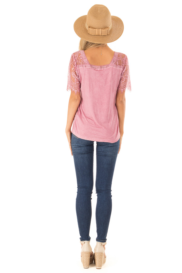 Dark Blush V Neck Top with Sheer Lace Sleeves and Fringe back full body