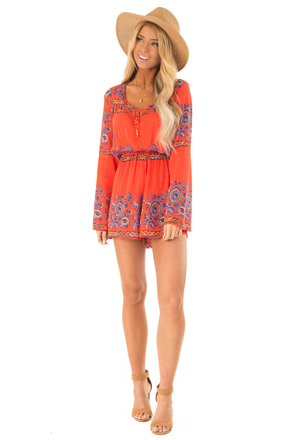 Fire Red Patterned Long Bell Sleeve Romper front full body