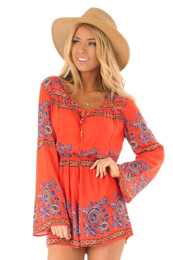 Fire Red Patterned Long Bell Sleeve Romper front close up