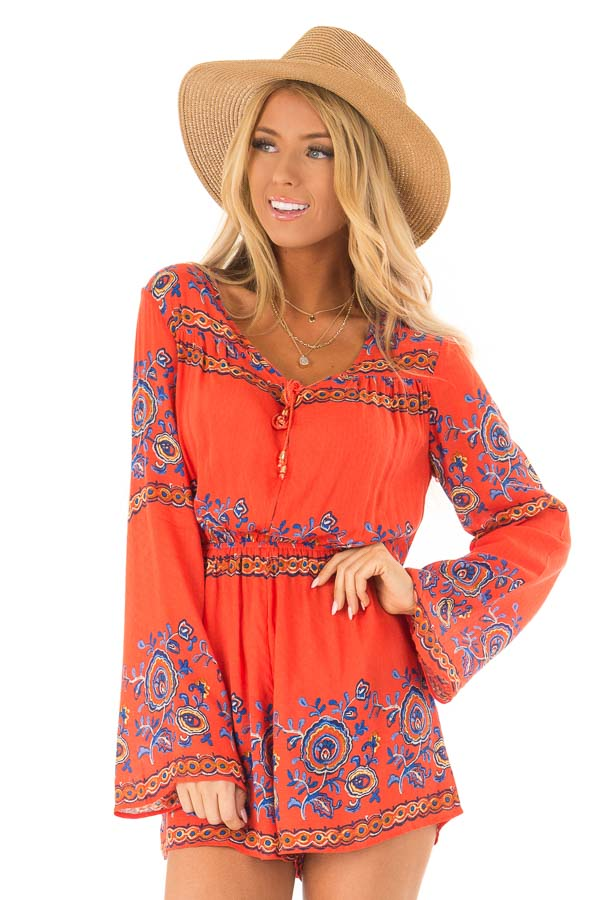 dbfb895c9eb2 Fire Red Patterned Long Bell Sleeve Romper - Lime Lush Boutique