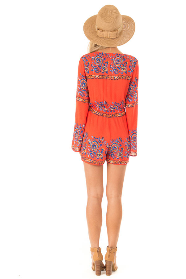 Fire Red Patterned Long Bell Sleeve Romper back full body