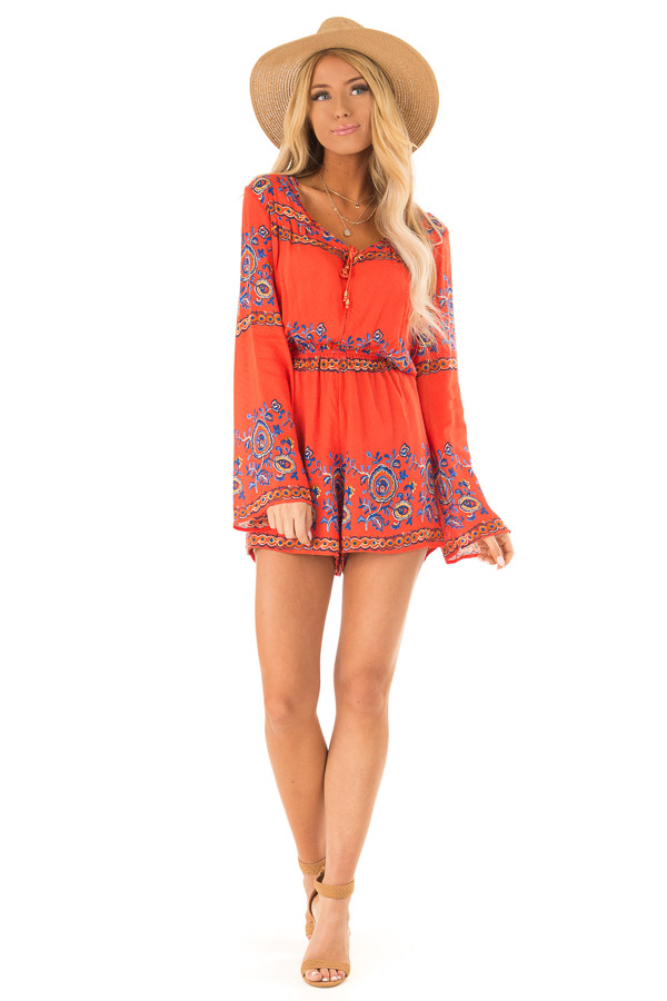 5974a9606fa2 ... Fire Red Patterned Long Bell Sleeve Romper front full body ...