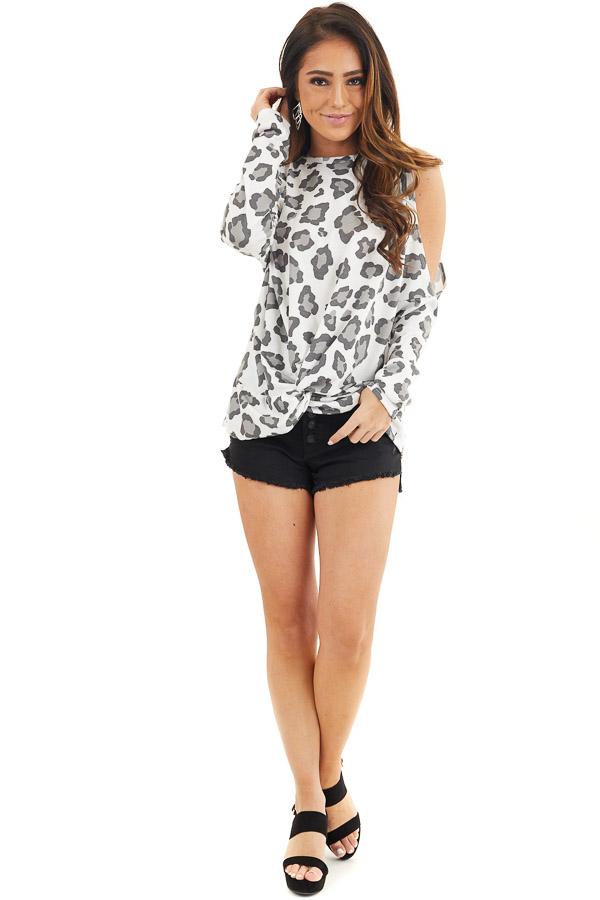 Ivory Leopard Print Cold Shoulder Top with Twist Detail front full body