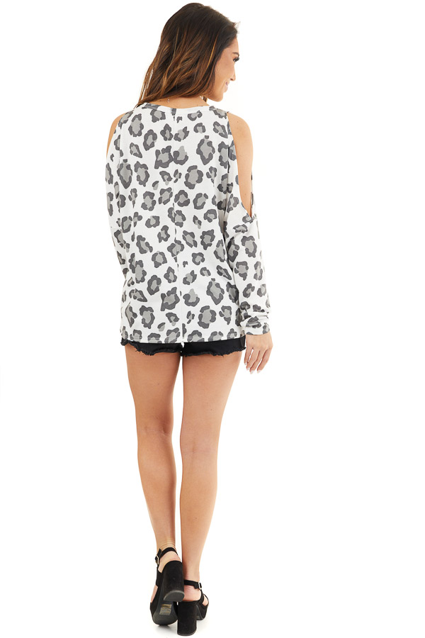 Ivory Leopard Print Cold Shoulder Top with Twist Detail back full body