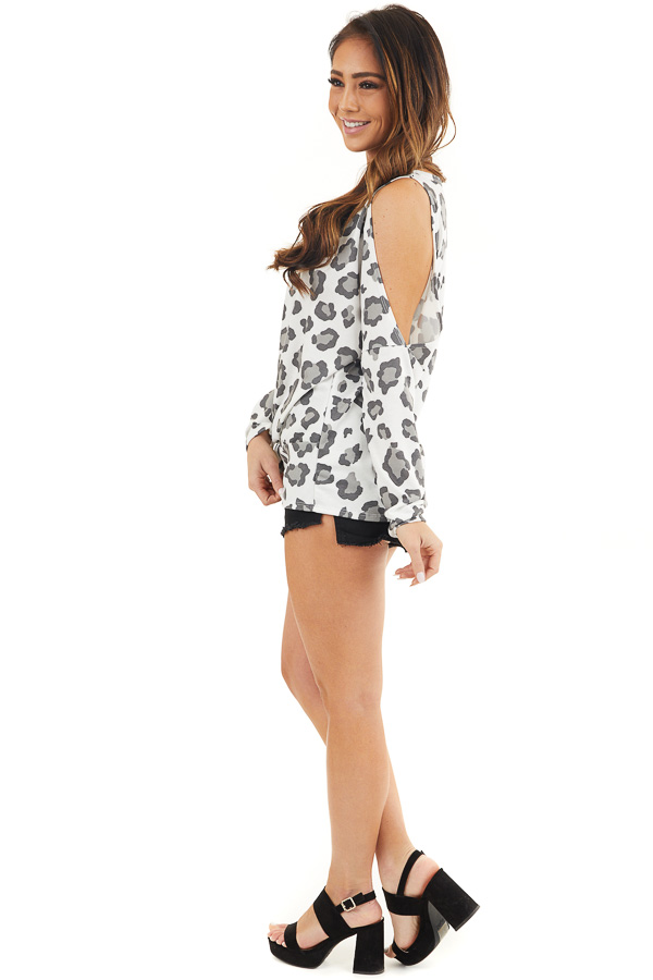 Ivory Leopard Print Cold Shoulder Top with Twist Detail side full body