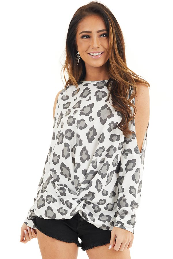 Ivory Leopard Print Cold Shoulder Top with Twist Detail front close up