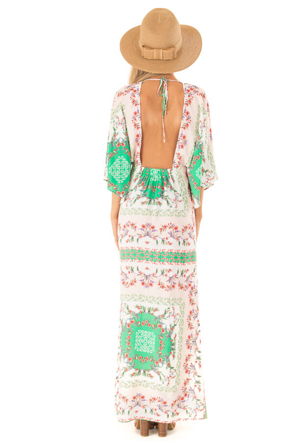 Multicolor Floral Peasant Maxi Dress with Side Cut Outs back full body