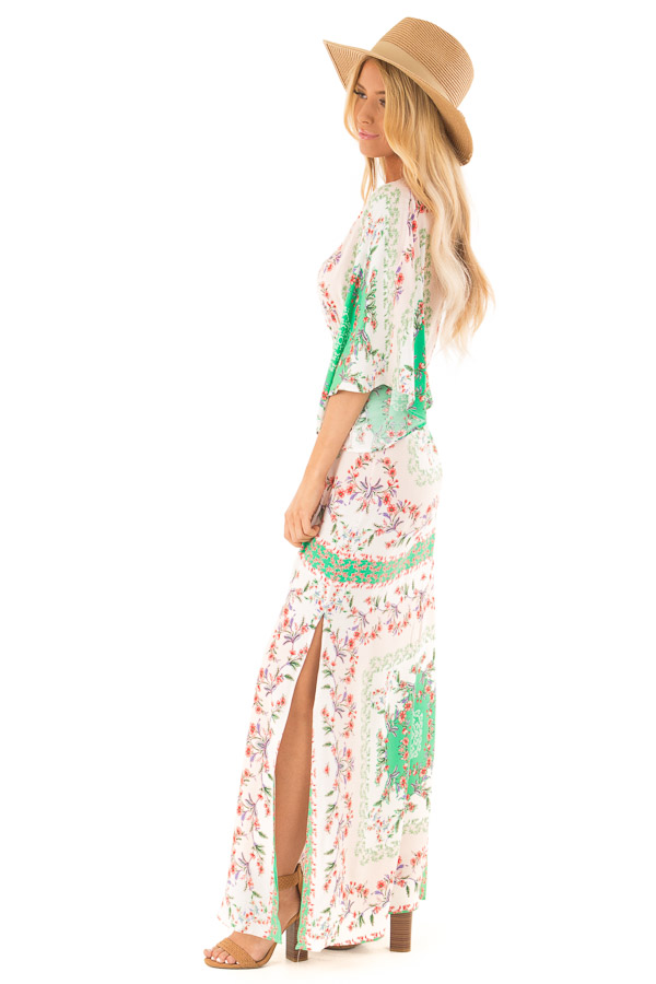 Multicolor Floral Peasant Maxi Dress with Side Cut Outs side full body
