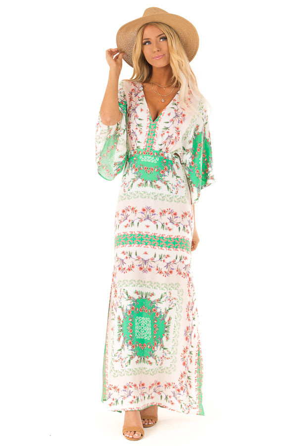 Multicolor Floral Peasant Maxi Dress with Side Cut Outs front full body