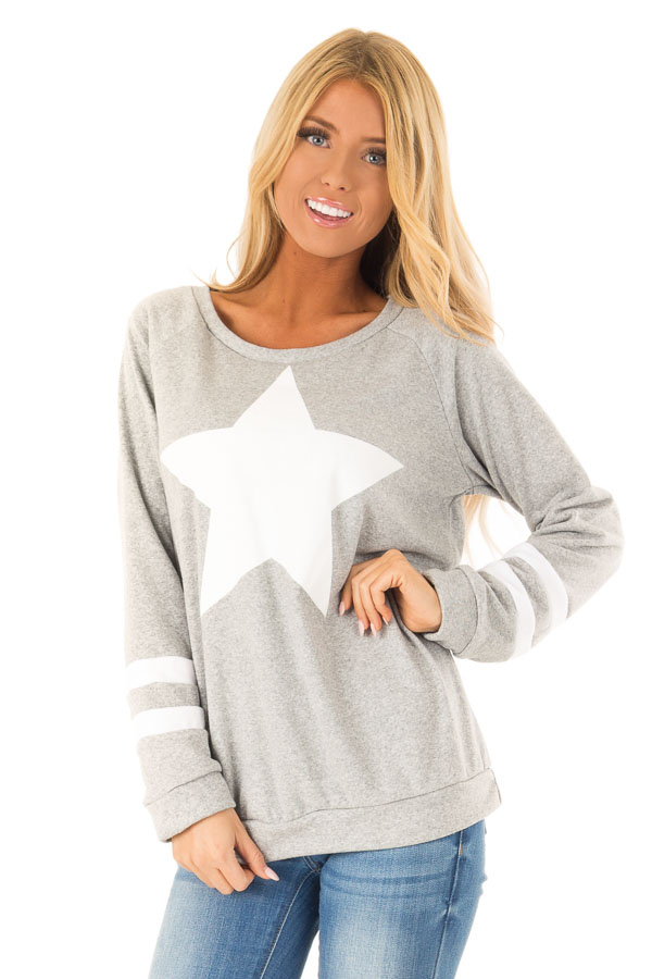 Heather Grey Long Sleeve Pullover Sweater with Star Print front close up