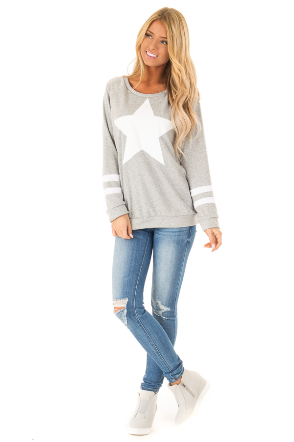 Heather Grey Long Sleeve Pullover Sweater with Star Print front full body