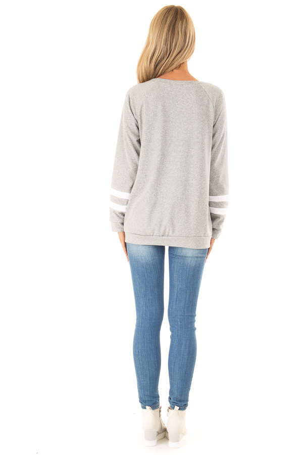 Heather Grey Long Sleeve Pullover Sweater with Star Print back full body