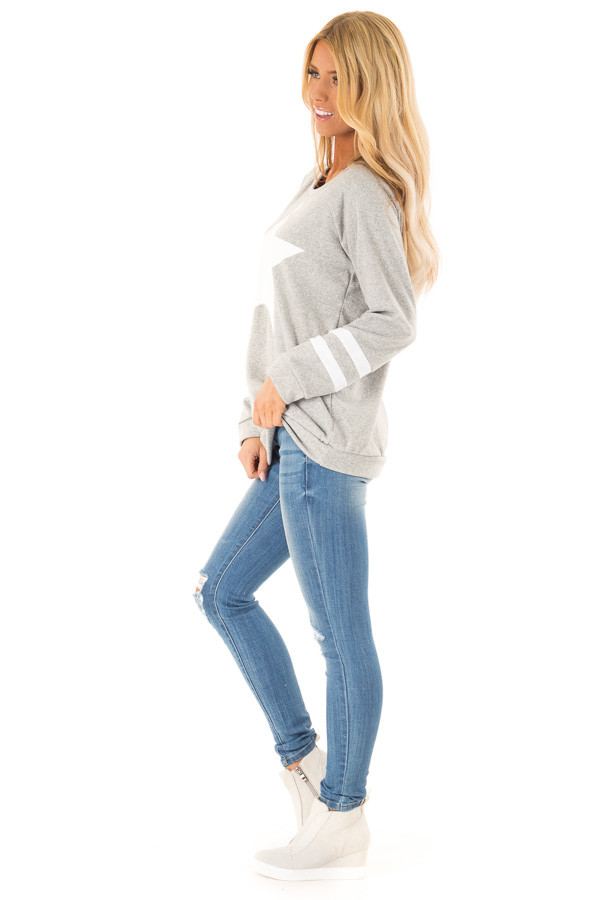 Heather Grey Long Sleeve Pullover Sweater with Star Print side full body