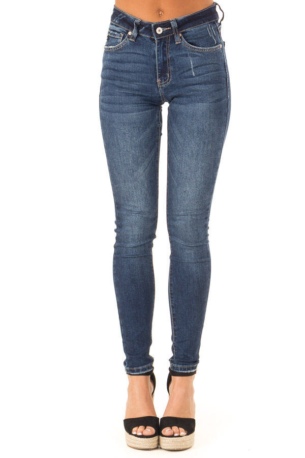 Dark Wash Skinny Denim Pants with Fading front view