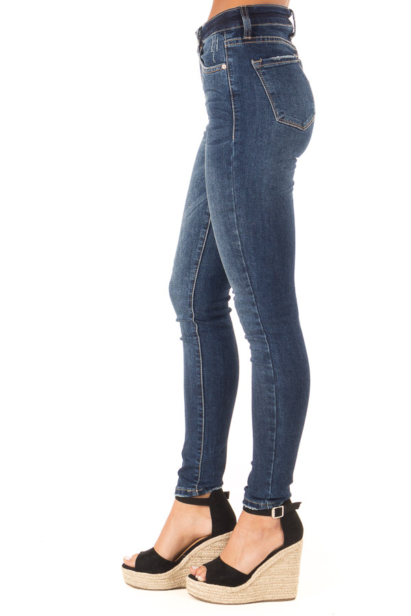 Dark Wash Skinny Denim Pants with Fading side view