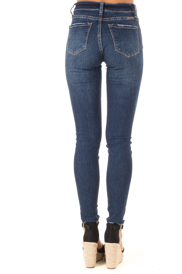 Dark Wash Skinny Denim Pants with Fading back view