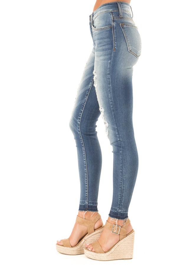 Medium Wash Denim Skinny Jeans with Distressed Details side view