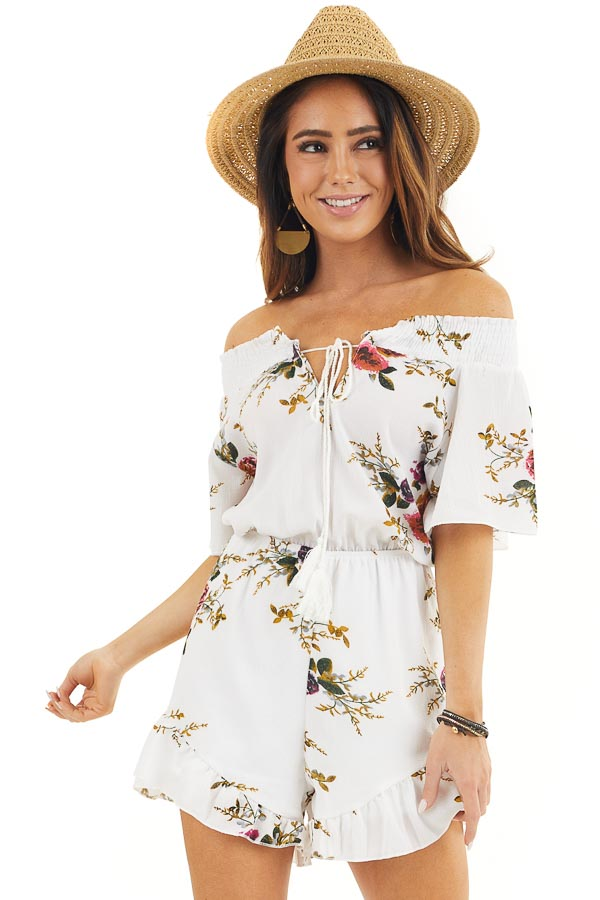Daisy White Off Shoulder Floral Print Romper with Tassel Tie front close up