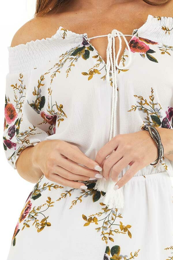 Daisy White Off Shoulder Floral Print Romper with Tassel Tie detail
