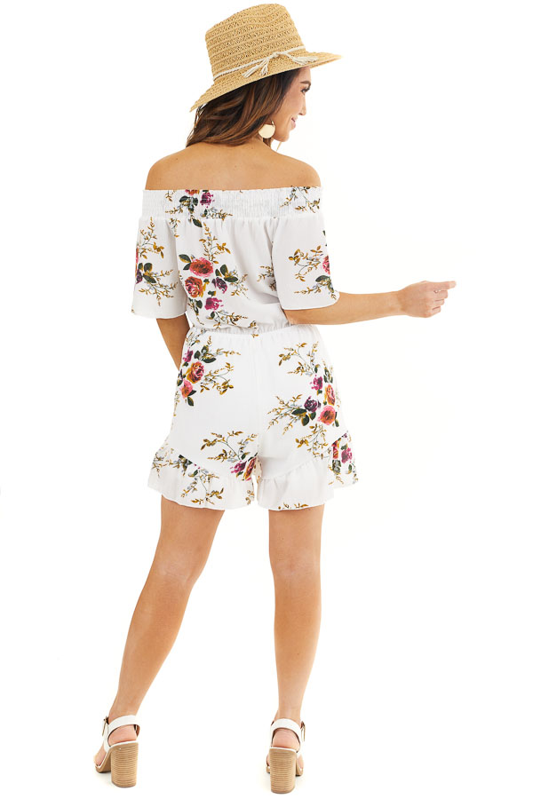 Daisy White Off Shoulder Floral Print Romper with Tassel Tie back full body