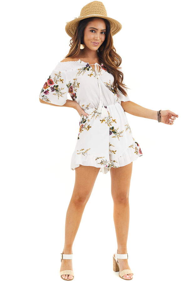 Daisy White Off Shoulder Floral Print Romper with Tassel Tie front full body