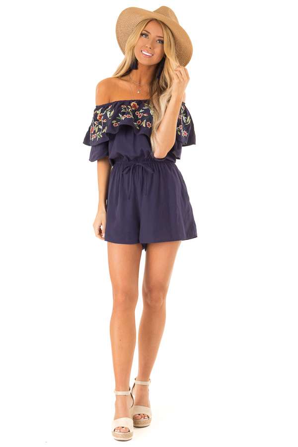 Navy Off the Shoulder Romper with Embroidered Detail front full body