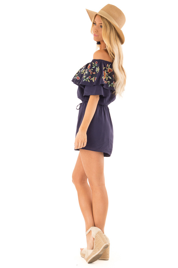 Navy Off the Shoulder Romper with Embroidered Detail side full body