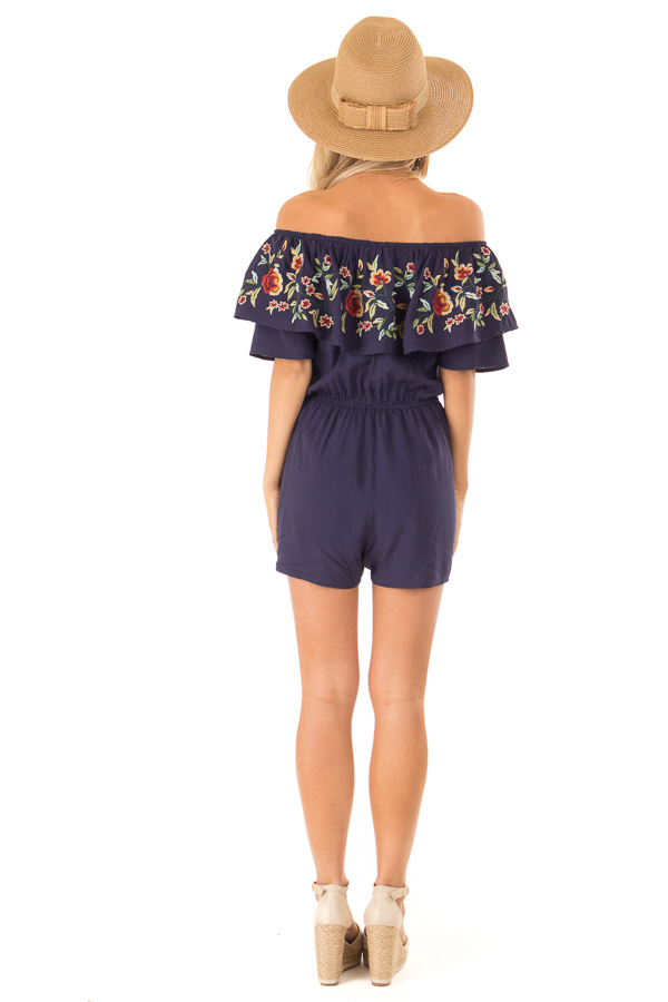Navy Off the Shoulder Romper with Embroidered Detail back full body
