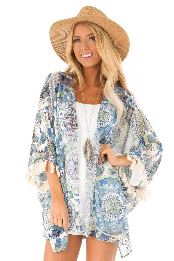 ef299470cf3a Ocean Blue Multi Print Open Front Kimono with Fringe Detail front close up