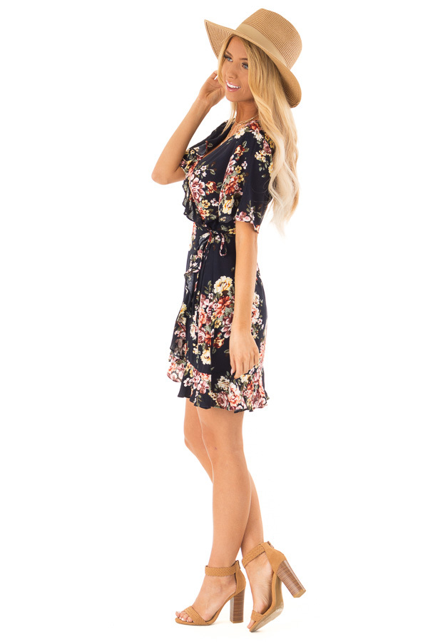 Navy Floral Ruffled Wrap Mini Dress with Short Sleeves side full body