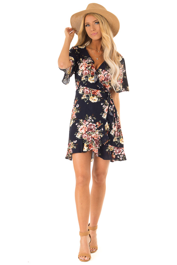 Navy Floral Ruffled Wrap Mini Dress with Short Sleeves front full body