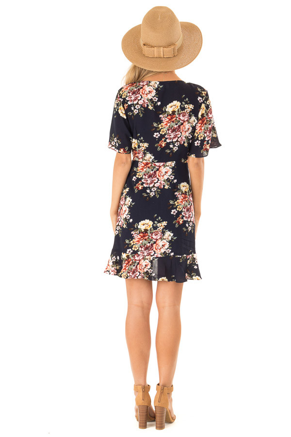 Navy Floral Ruffled Wrap Mini Dress with Short Sleeves back full body