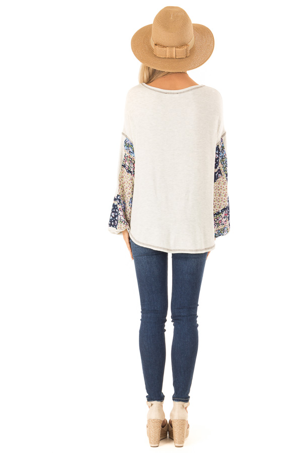 Oatmeal Two Tone Top with Contrast Balloon Sleeves back full body
