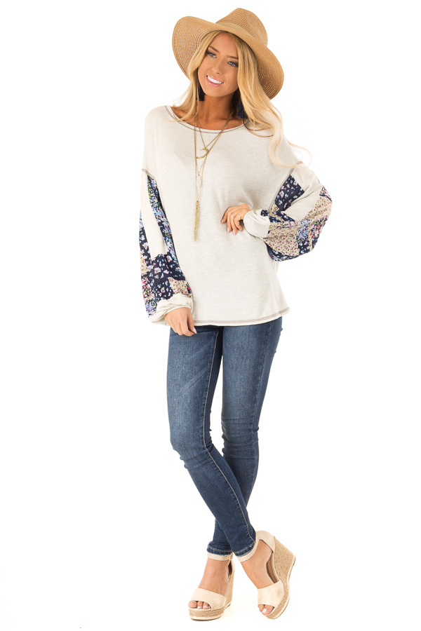 Oatmeal Two Tone Top with Contrast Balloon Sleeves front full body