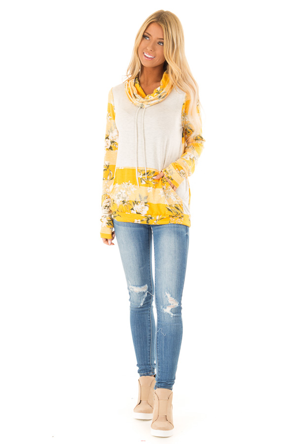 2f8461eeab81 Mustard and Oatmeal Floral Long Sleeve Cowl Neck Top front full body