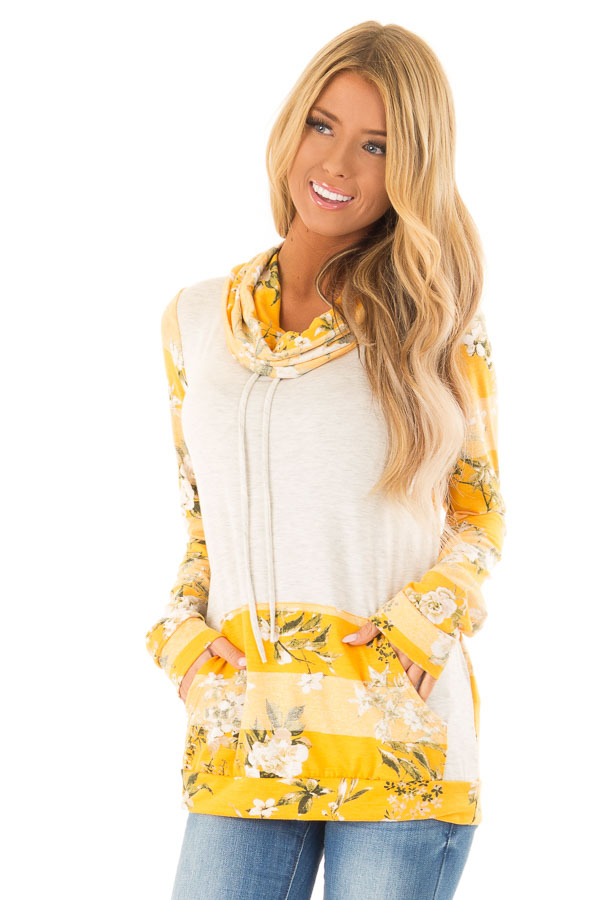 75fe4d9b4396 Mustard and Oatmeal Floral Long Sleeve Cowl Neck Top - Lime Lush ...