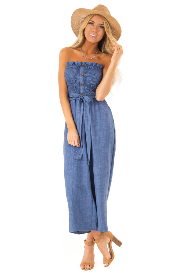 Denim Blue Strapless Smocked Jumpsuit with Waist Tie front full body