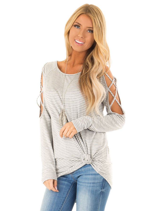 Ivory and Grey Striped Tunic with Criss Cross Cold Shoulders front close up