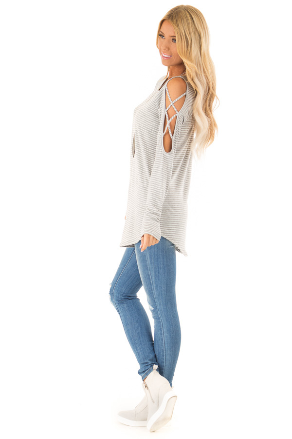 Ivory and Grey Striped Tunic with Criss Cross Cold Shoulders side full body