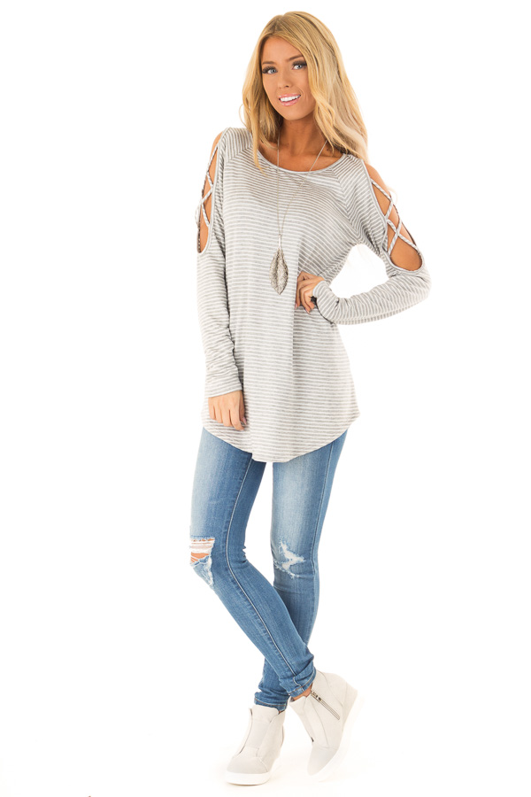 Ivory and Grey Striped Tunic with Criss Cross Cold Shoulders front full body