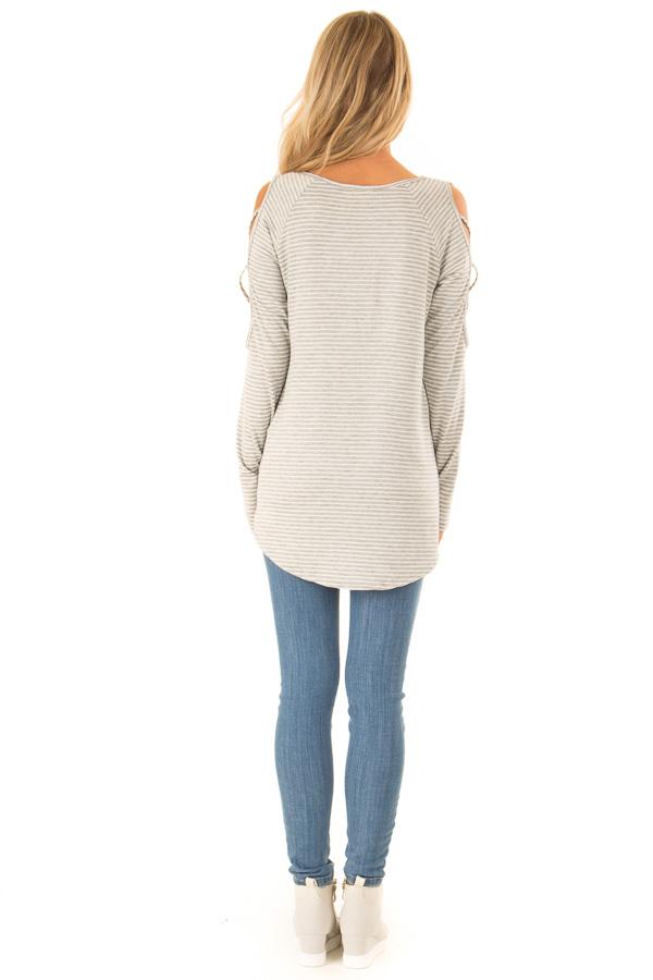 Ivory and Grey Striped Tunic with Criss Cross Cold Shoulders back full body