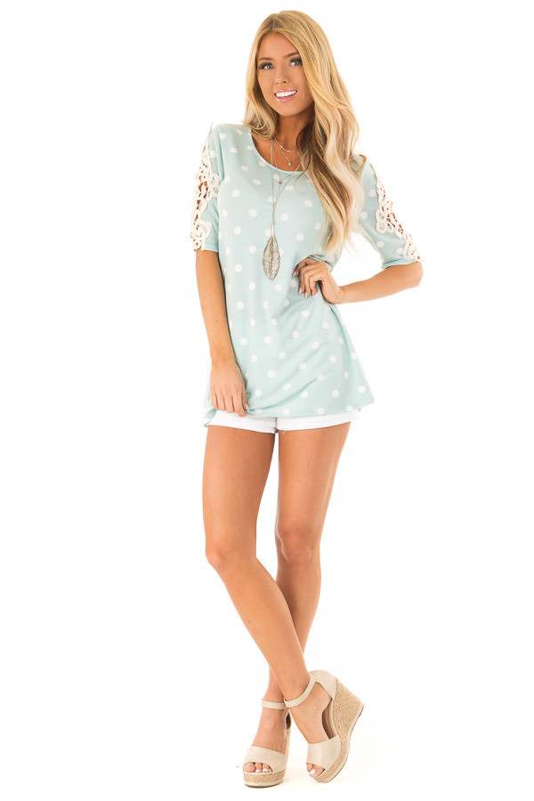 Sky Blue Polka Dot Top with Sheer Lace Sleeve Detail front full body