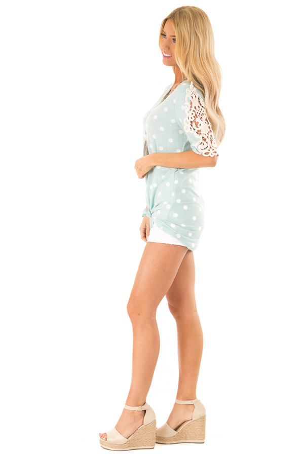Sky Blue Polka Dot Top with Sheer Lace Sleeve Detail side full body