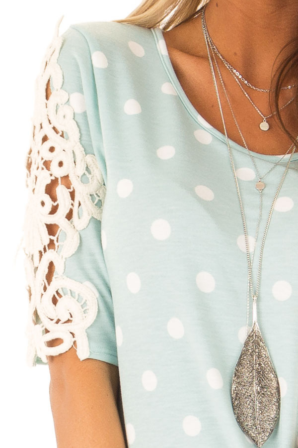 Sky Blue Polka Dot Top with Sheer Lace Sleeve Detail detail