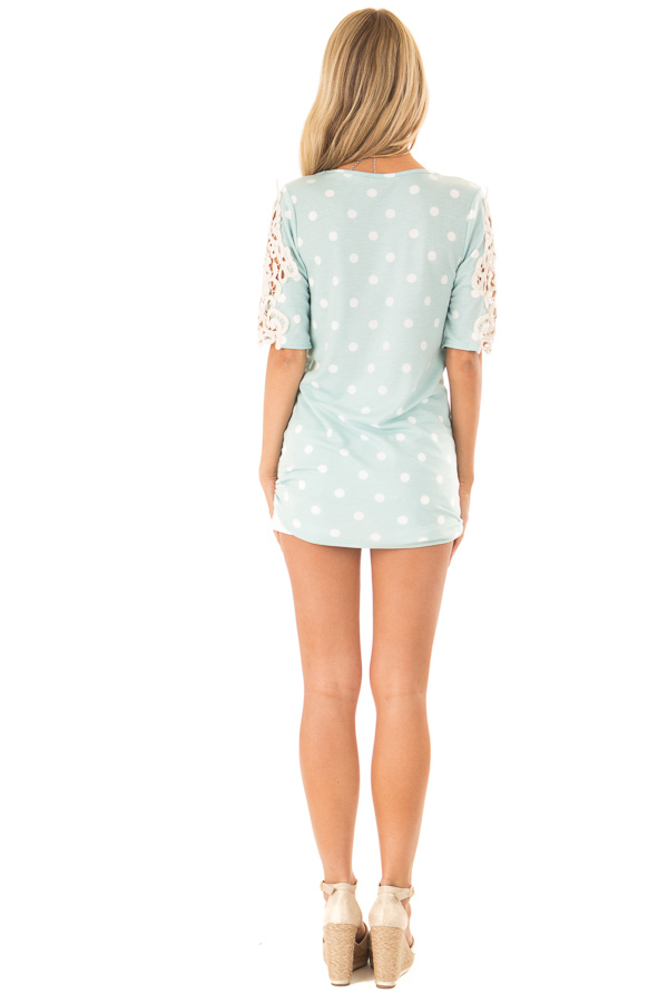 Sky Blue Polka Dot Top with Sheer Lace Sleeve Detail back full body