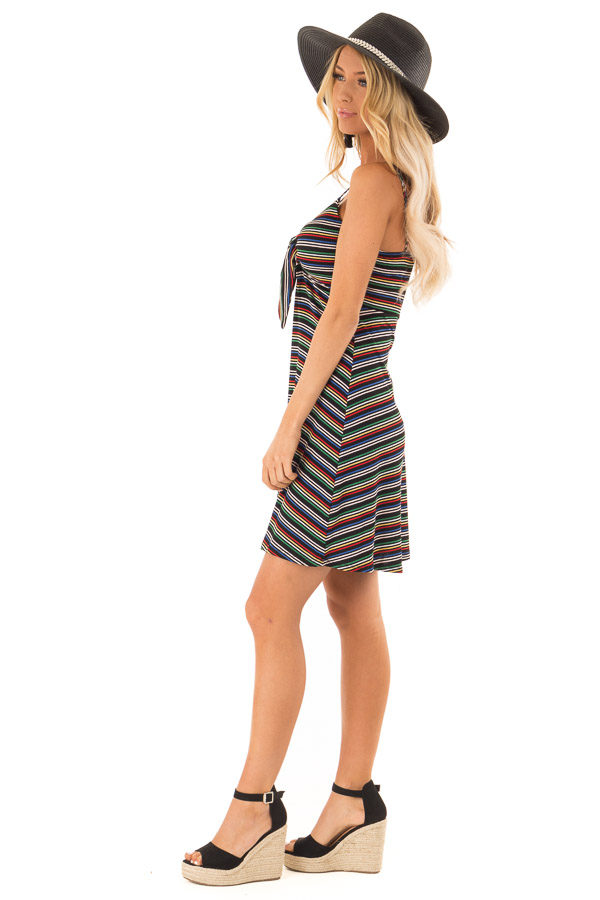 Rainbow Striped Spaghetti Strap Dress with Front Tie side full body